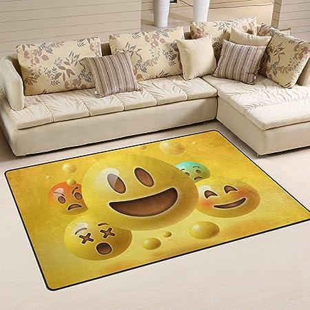 JSTEL INGBAGS Super Soft Modern Yellow Smiley Emoticons Emoji Area Rugs  Living Room Carpet Bedroom Rug