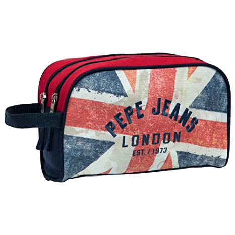 Pepe Jeans London Neceser para Niño, Diseño Bandera, Color Azul