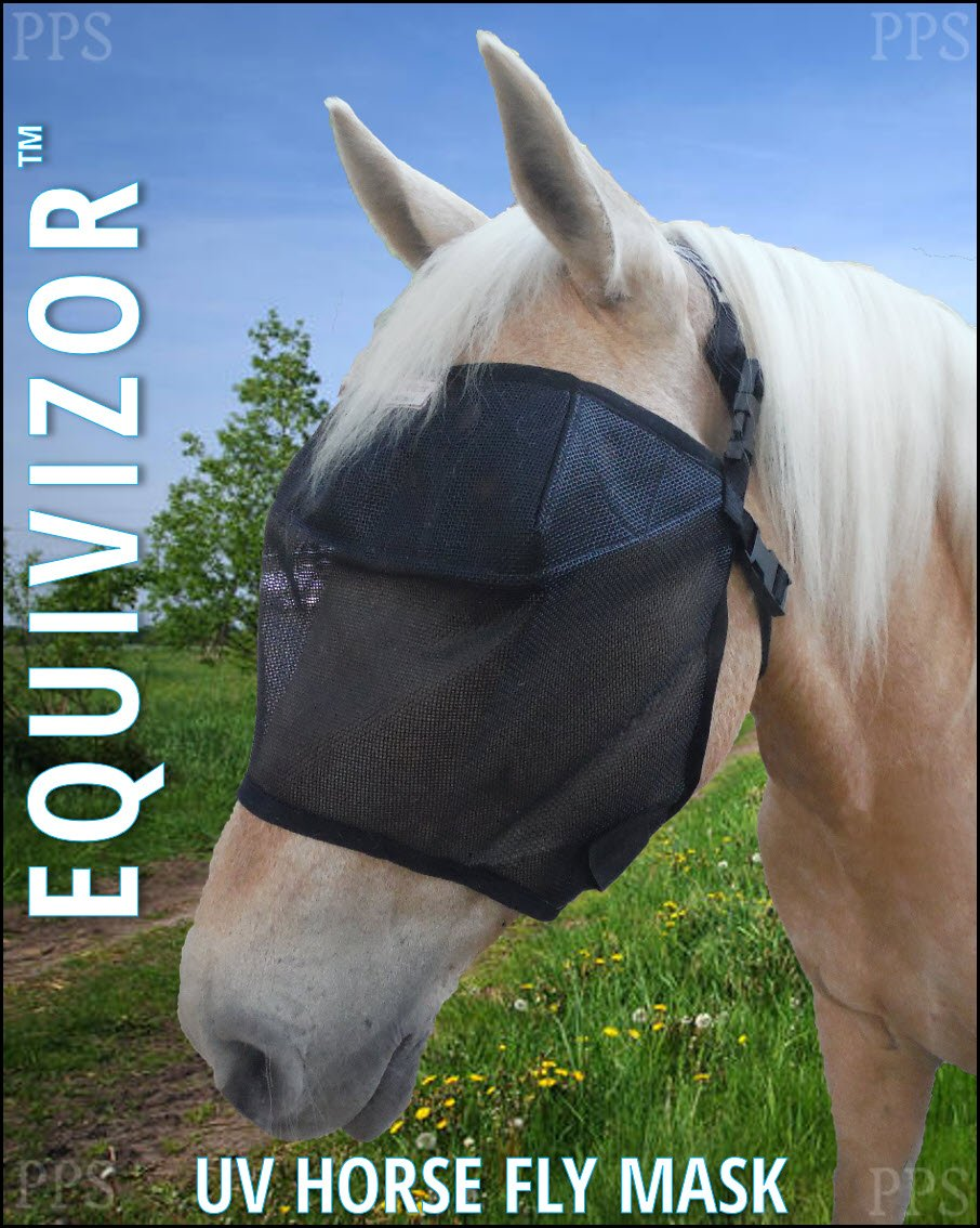 EquiVizor 95% UV Eye Protection (Full) Standard Horse Fly Mask - Insects, Dust, Debris, Uveitis, Corneal Ulcer, Cataract, Light Sensitivity, Cancer. Designed to Stay On Your Horse, Off The Ground! by EquiVizor Fly Masks