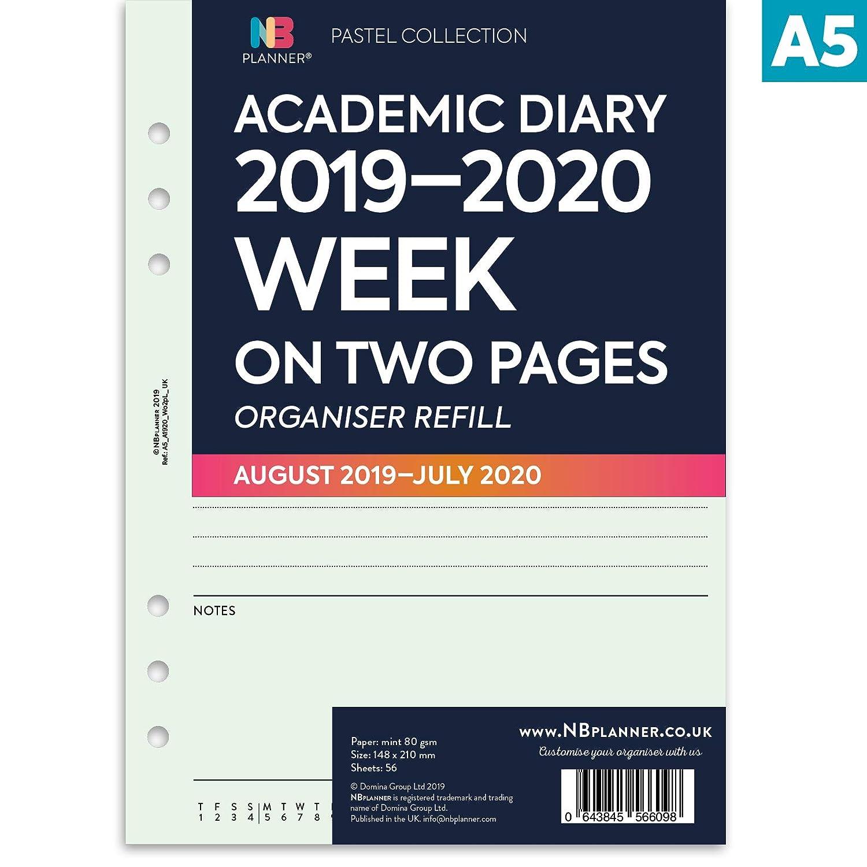 colore: menta Personal: 95 x 171 mm a righe NBplanner/® Academic 2019-2020 Agenda settimanale su due pagine