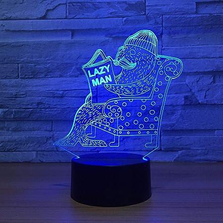 3D-LED-7 color-control remoto-luz nocturna-luz nocturna para niños ...