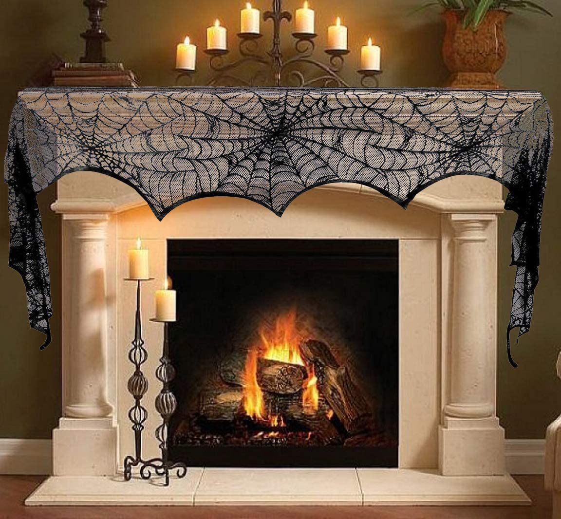 T-Antrix Halloween Decoration Black Lace Spiderweb Fireplace Mantle Scarf Cobweb Cover Festive Party Supplies (18 x 96 inch)