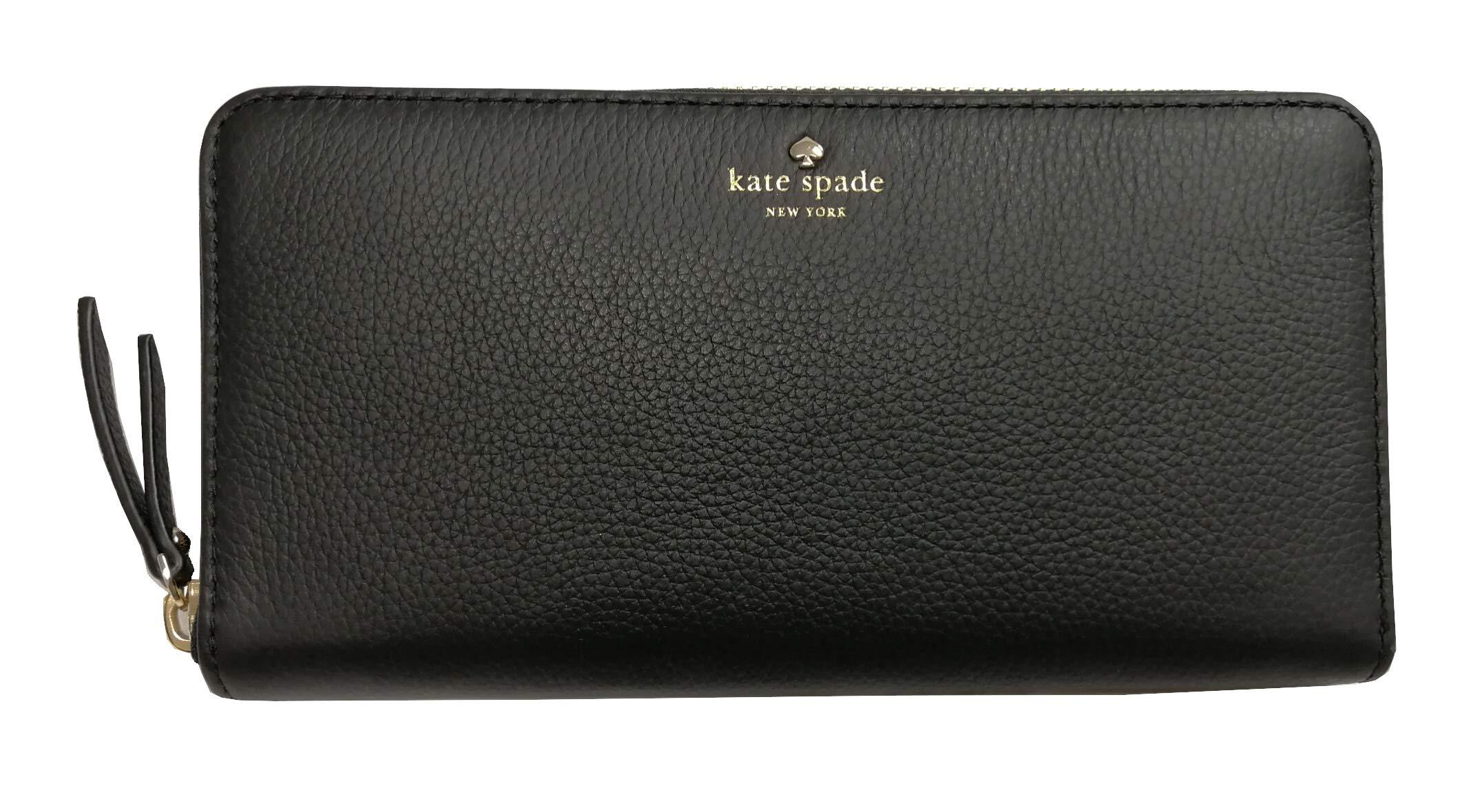 Kate Spade New York Neda Larcnmont Avenue Pebbled Leather Wallet Zip Around Black