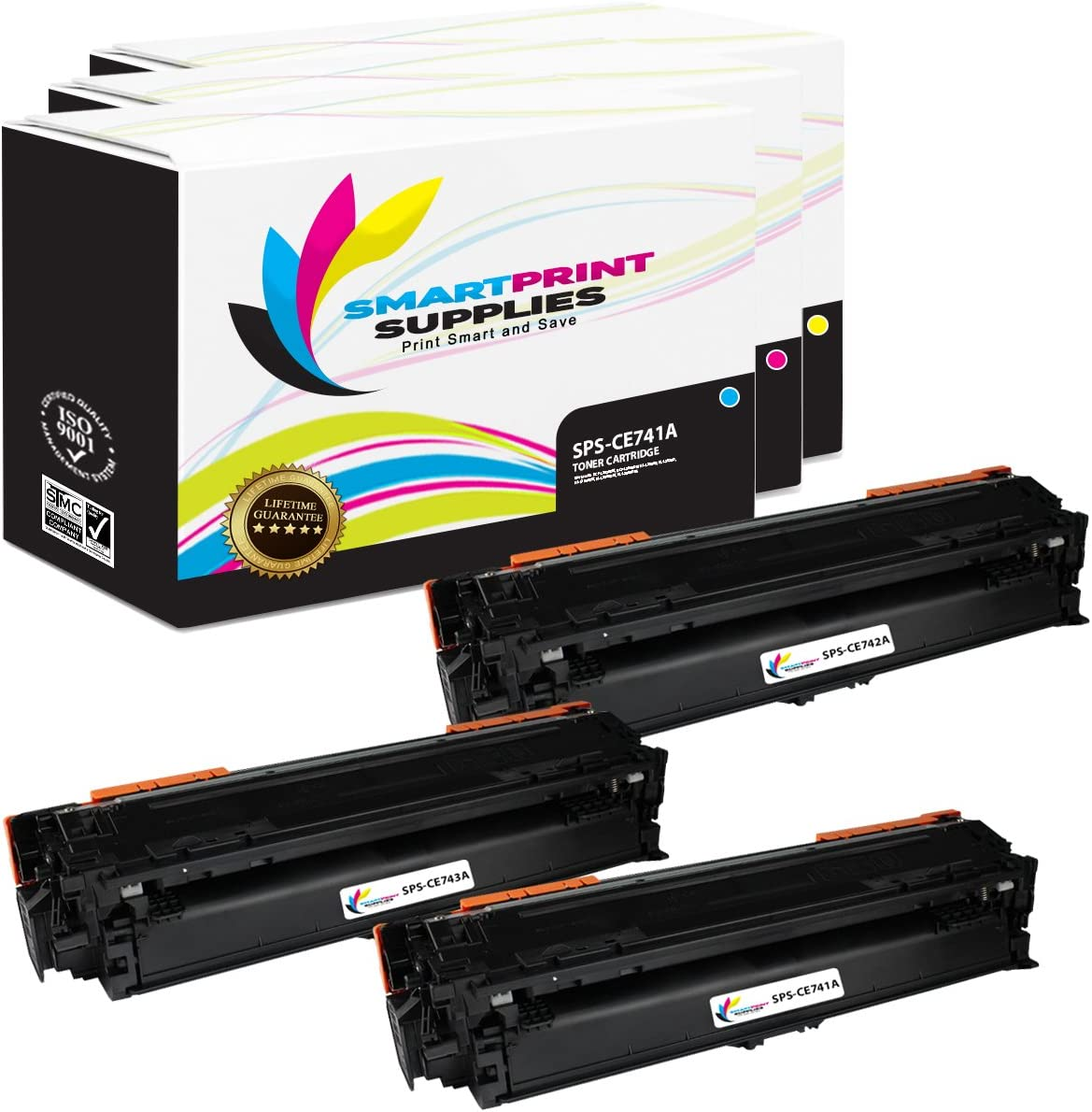 3 Pack CE741A Cyan, CE742A Magenta, CE743A Yellow Smart Print Supplies Compatible 307A Toner Cartridge Replacement for HP Laserjet CP5225DN CP5225N Printers