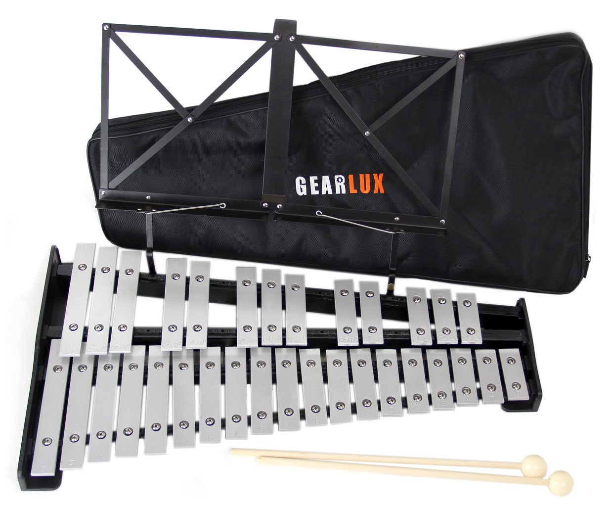 Gearlux 32-Note Glockenspiel Bell Set with Carrying Bag