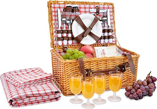 Picnic Basket for 4 Person Red Picnic Hamper Set Folding Picnic Blanket Picnic Table Set Picnic Plates Picnic Supplies Summer Picnic Kit Picnic Utensils Cutlery Set Flatware