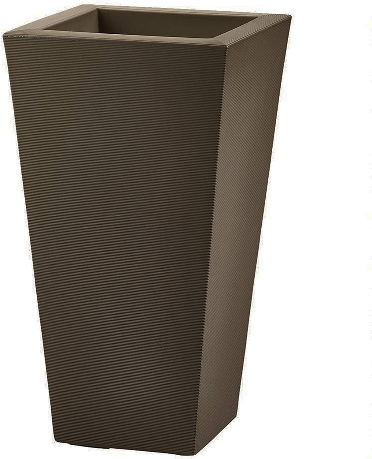 Crescent Garden Bowery Planter, Tall Double-Walled Plant Pot, 17-Inch (Mocha)