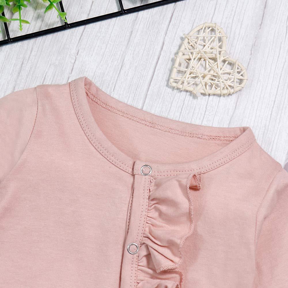 Newborn Baby Girls Romper Jumpsuit Flower Long Sleeves Bodysuit Floral Headband 2Pcs Outfit Set