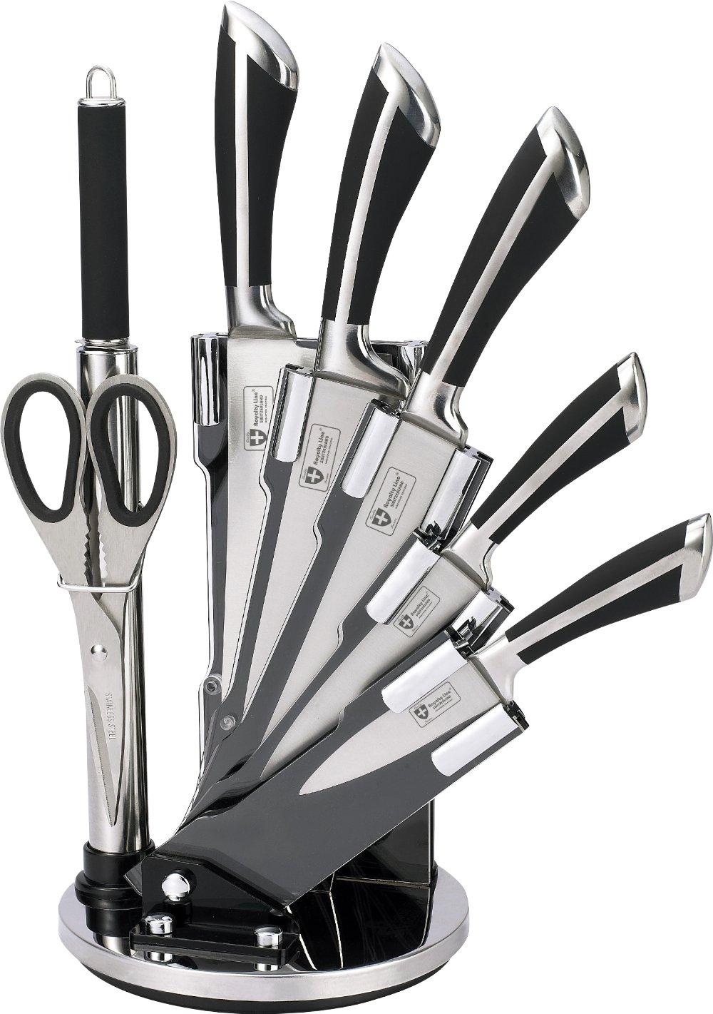 Royalty Line Messer-Set Messer-Set Messer-Set (8-teilig) aus Edelstahl mit Drehständer + Schere + Messerschärfer (KSS700) B019F8E8RS Messerblocksets 80af78