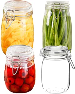 ELITE Glass Jars Mason Jars Canning Jars Spice Jars Wide Mouth Cookie Jars Cookie Jars with Lids Glass Storage Containers (Two 23oz Small Jars; Two 32oz Large Jars) w/ Airtight Lids & Leakproof Rubber Gasket, Hinged Lids for Kid-Proof Function (4 Pack)