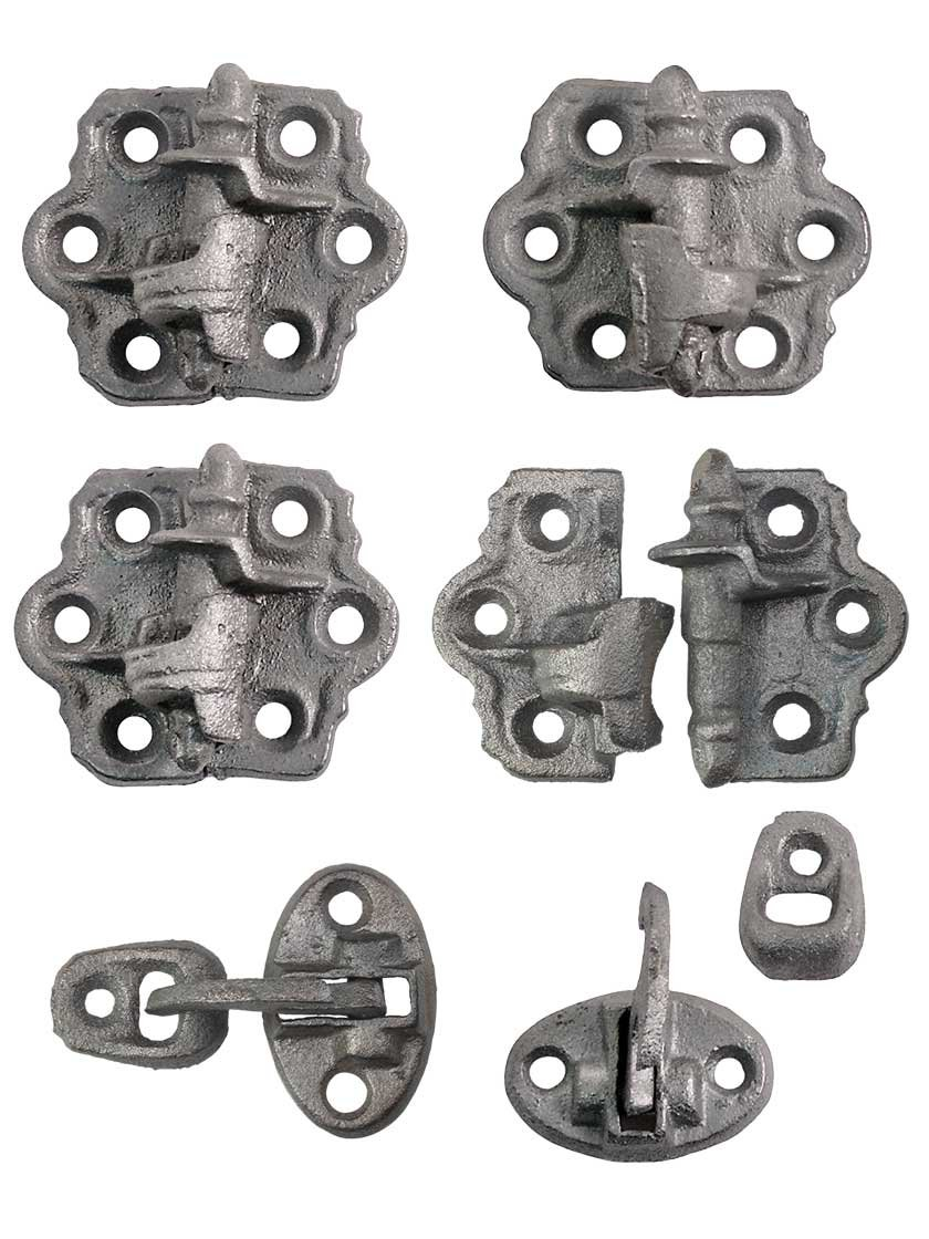 Set Of''Clarks Tip'' Cast Iron Shutter Hinges With 1 1/4'' Throw
