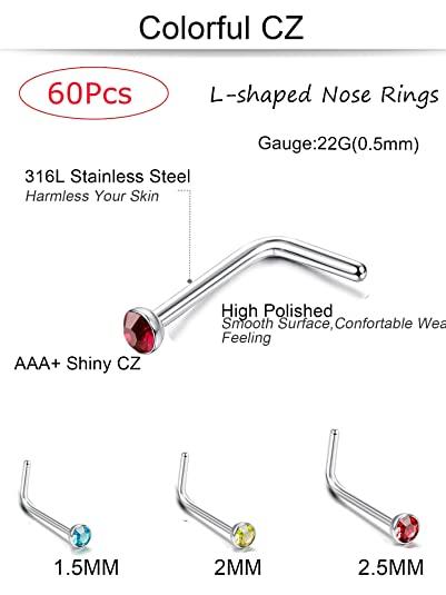 Jstyle 60 120pcs L Nose Piercing Studs Jewelry For Women Stainless