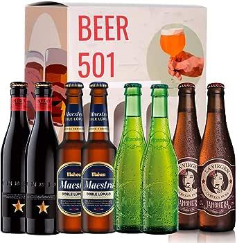 Pack de cervezas degustación BEER 501 - Caja Cerveza Premium España: Inedit, Mahou Maestra, Alhambra 1925 y La Virgen Jamonera. I La mejor selección de cervezas para regalar y disfrutar.: Amazon.es: Alimentación