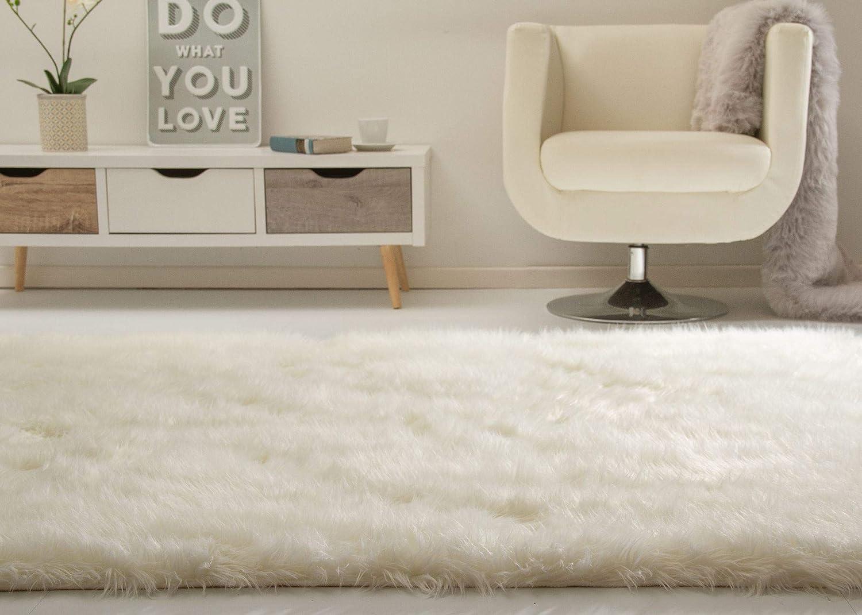 Hochflor Teppich Senja XL Fellimitat in Weiß, Ökotex Zertifiziert, Größe  160x230 cm