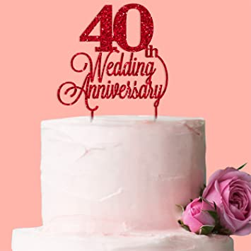 40th Wedding Anniversary Cake Topper Red Glitter Acrylic Amazonco