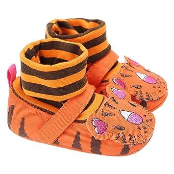 Zapatos primeros pas, Xinan zapatos chicos niña piel suave zapatos niño dibujo animado Botines Naranja