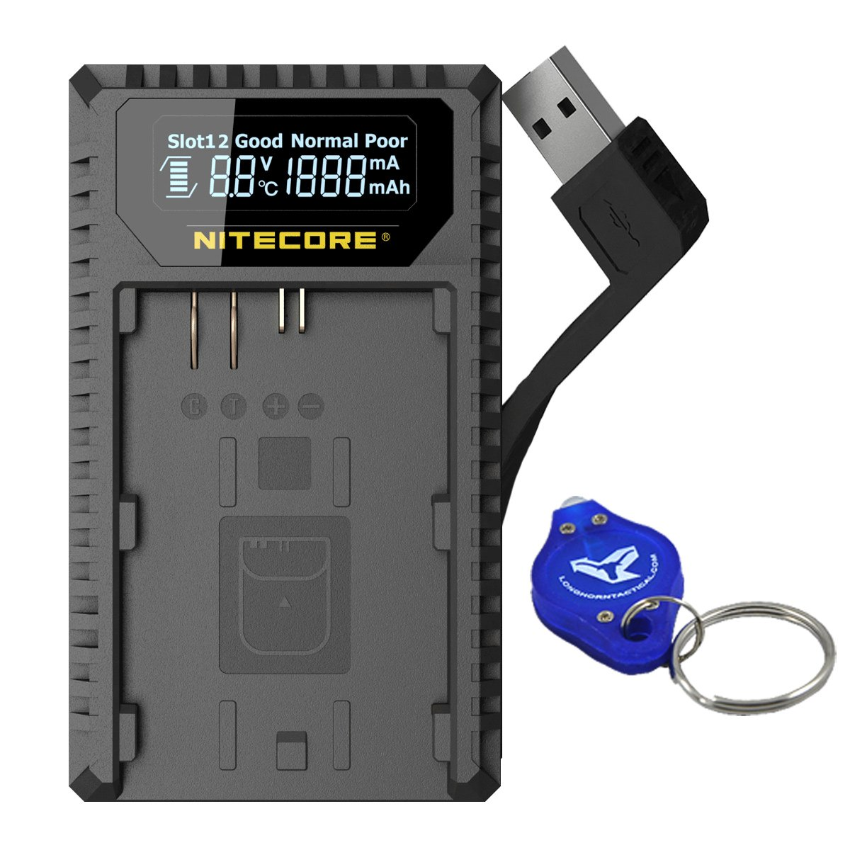Nitecore UCN1 Digital USB Charger for Canon EOS LP-E6 LP-E6N & LP-E8 Batteries with LumenTac LED Keychain Flashlight - Compatible with Canon Rebel, Kiss, Mark II, Mark III, X4, & T Series