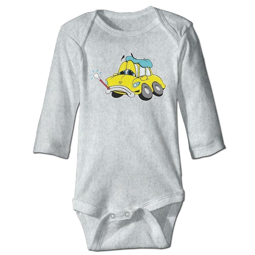 braeccesuit Babys Sick Yellow Car Long Sleeve Romper Onesie Bodysuit Jumpsuit