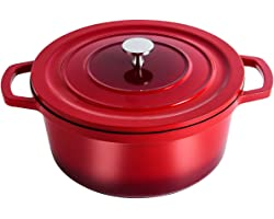 swiflon Cast Aluminum Nonstick Pot Sauce Pot Casserole Dutch Oven 5-QT Red Shadowed