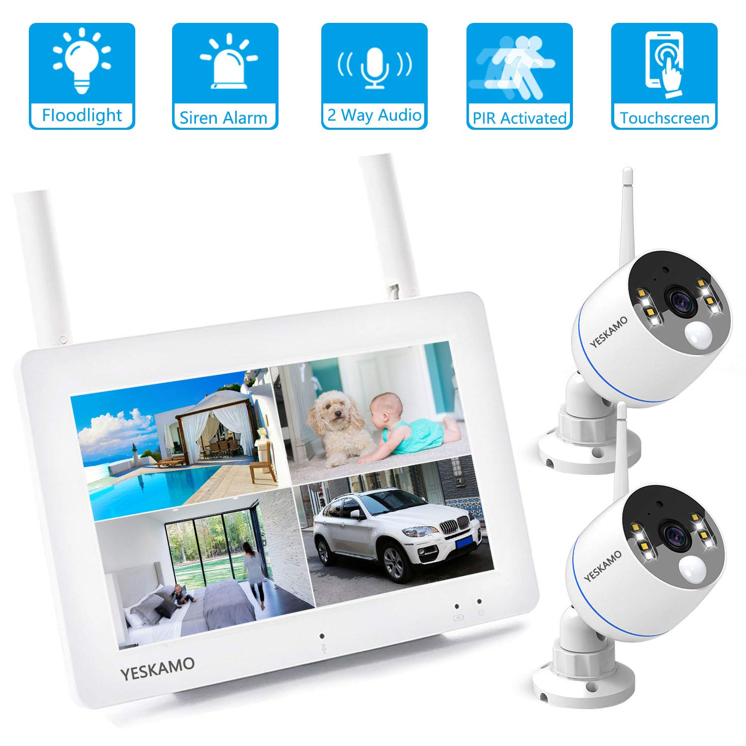 Floodlight Camera Security System Wireless Outdoor with 7 Portable Touchscreen Monitor 2Pcs 1080P Floodlight WiFi IP Camera for House Security, YESKAMO Home Video Surveillance, Two Way Audio