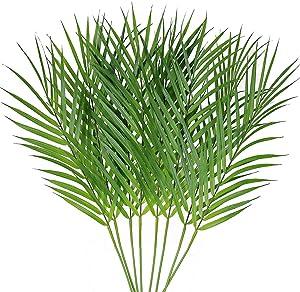 8 Pcs Artificial Areca Palm Leaves Stems Faux Palm Leaf Greenery Tropical Palm Tree Leaves Plants Faux Monstera Leaves for Palm Sunday Floral Arrangement Hawaiian Luau Jungle Beach Wedding Party