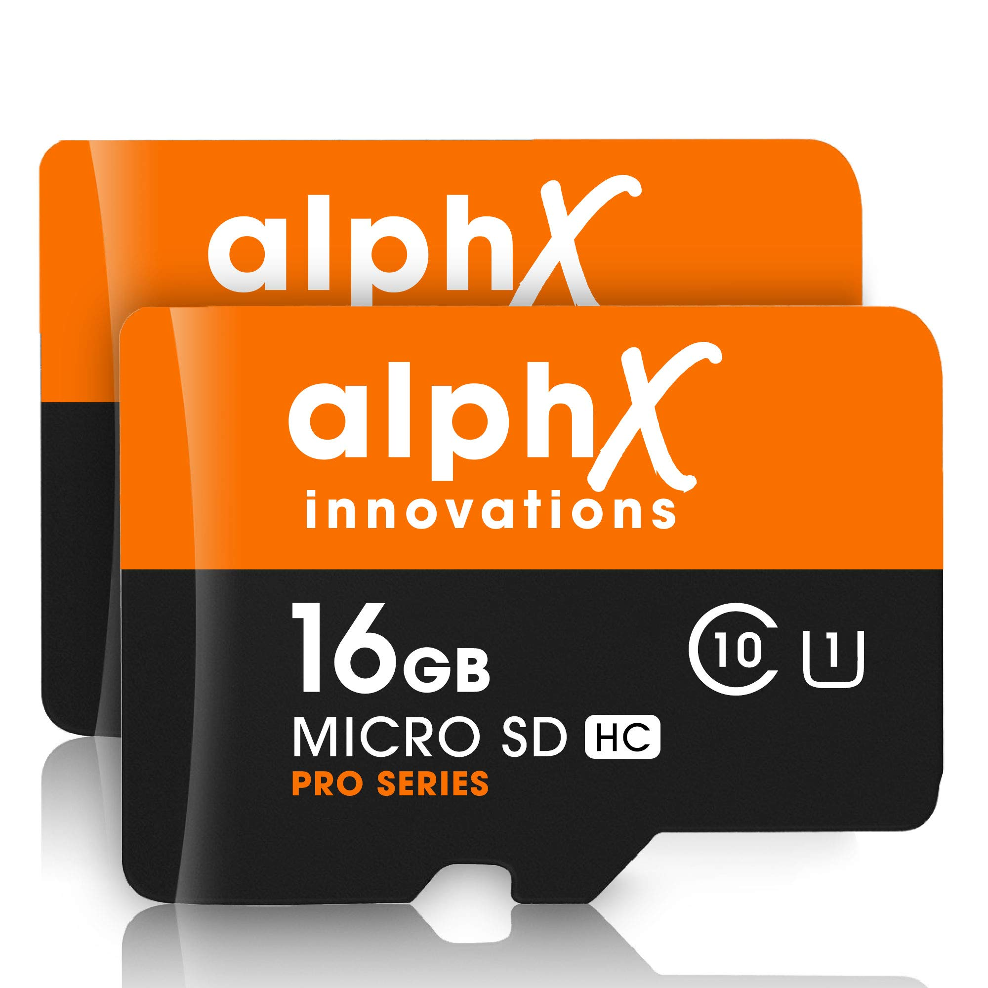 4 Piece Bundle - AlphX 16gb [2 pack] Micro SD High Speed Class 10 Memory Cards for Samsung Galaxy S9, S9+, S8, Note 8, S7, S5, S4 with Bonus Adapter and Sandisk Micro SD Card Reader