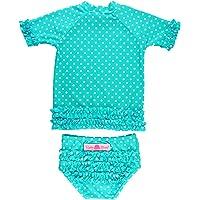 RuffleButts Baby/Toddler Girls Rash Guard 2-Piece Swimsuit Set - Polka Dot Bikini with UPF 50+ Sun Protection