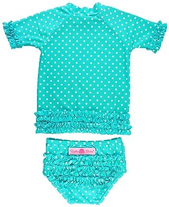 3de5f3a1e RuffleButts Baby/Toddler Girls Rash Guard 2-Piece Swimsuit Set - Aqua Polka  Dot