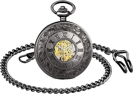 MICGIGI-Reloj de bolsillo unisex mecánico de cuerda manual analógico retro esqueleto reloj de bolsillo con cadena: Amazon.es: Relojes