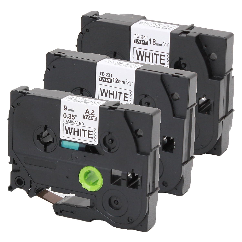 Lot de 3/police Ruban compatible /à Brother 221/9/mm Tze-231/12/mm Tze de 241/18/mm pour P-touch 1000/W 1830/2730/D200/7100/2100/2030/1830/7600/VP 2430/1230/