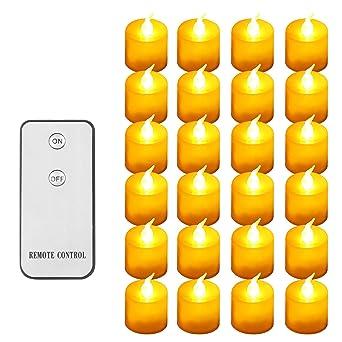 Four Heart Velas de t/é sin llama con temporizador y mando a distancia velas el/éctricas con bater/ía