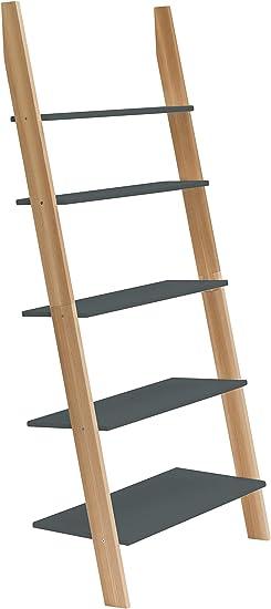 Ragaba ASHME - Estantería con escalera de madera de fresno ...