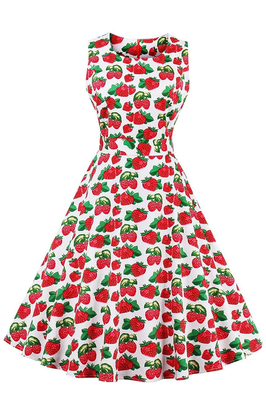 Babyonline® 50er Retro Rockabilly Cocktailkleider Partykleider Geblühmt Kleid FS1507