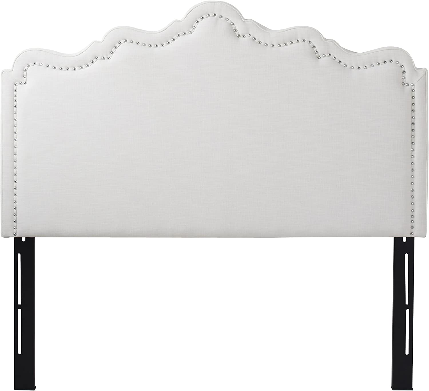Jennifer Taylor Home Ela Collection Upholstered Nailhead Trim Designed Luxury Queen Size Size Headboard With Trim, Queen Size, Star White
