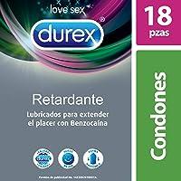 Durex Condones Durex Retardante Con Benzocaína, Cartera Con 18 Piezas, color, 18 count, pack of/paquete de