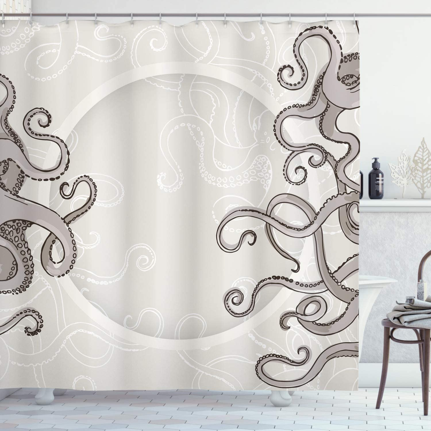 Ambesonne Kraken Shower Curtain, Fish Octopus Tentacles with a Circular Shape Surreal Universe Treasure Beast Graphic, Cloth Fabric Bathroom Decor Set with Hooks, 75