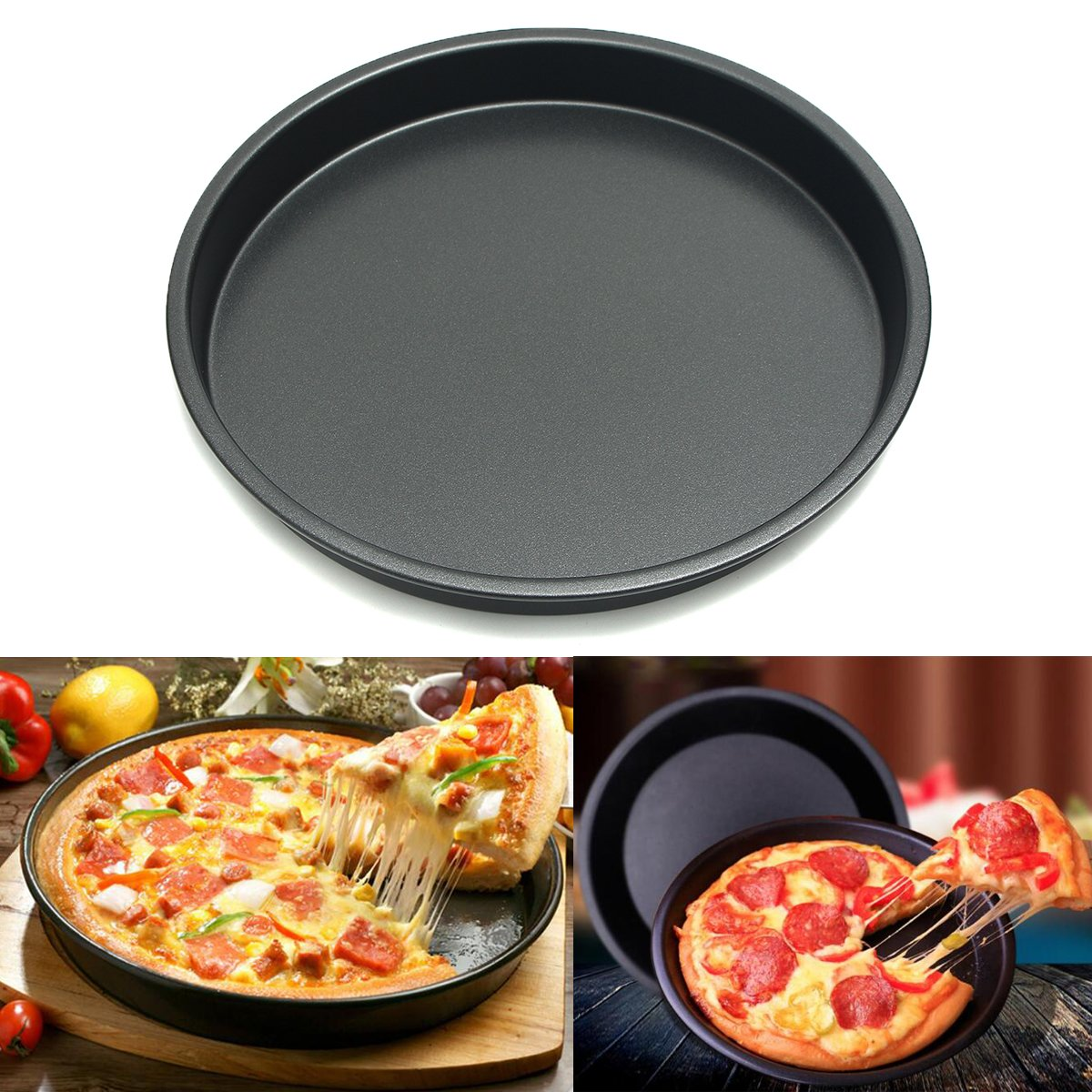 Janolia Pizza Pan, Non-stick Coating Steel Air Fryer Accessory Fit For Air Fryer, Microwave or Oven quantity