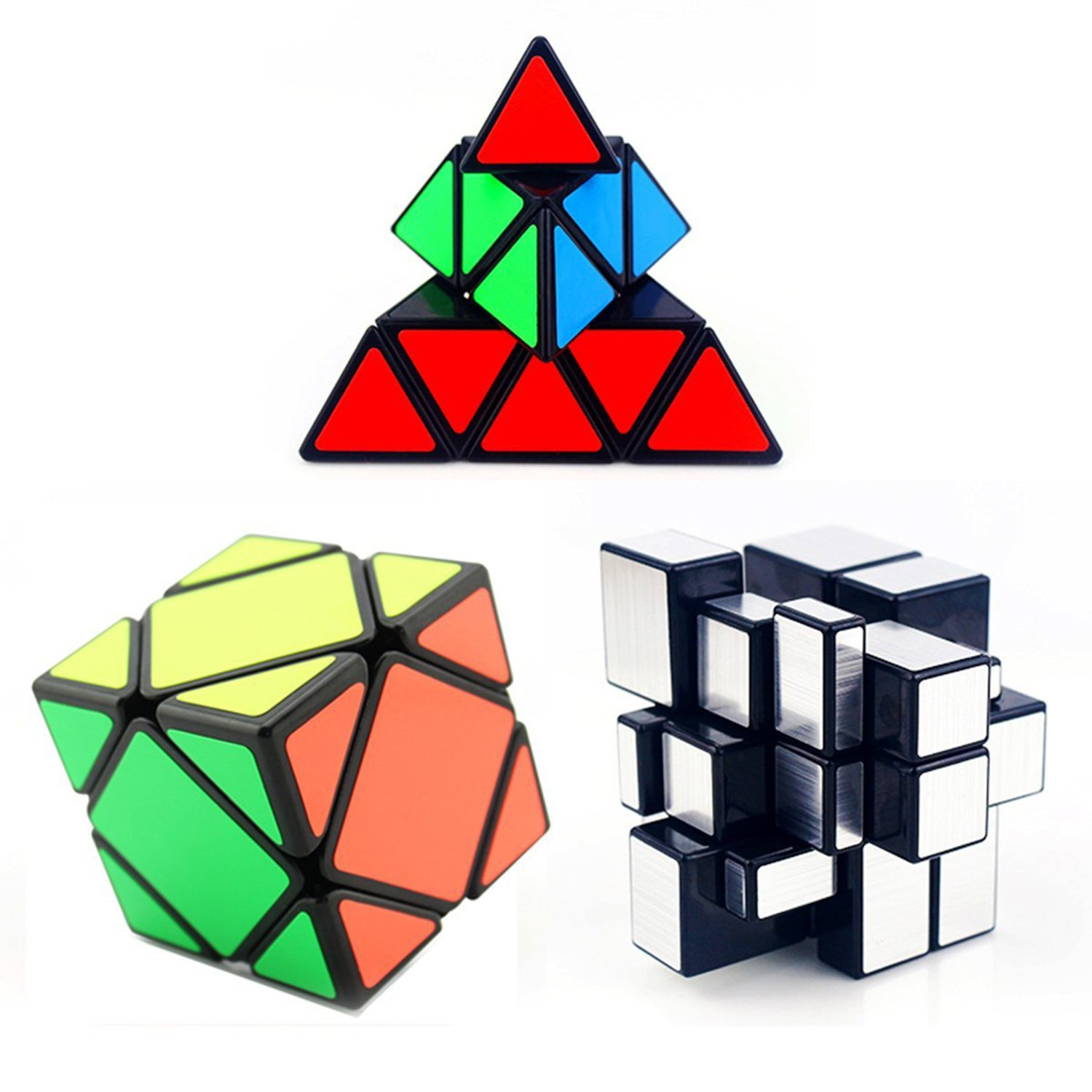 3-packed shengshou 3X3 Pyraminx +silver mirror + Skewb magic cube puzzle set by toys Ting-w