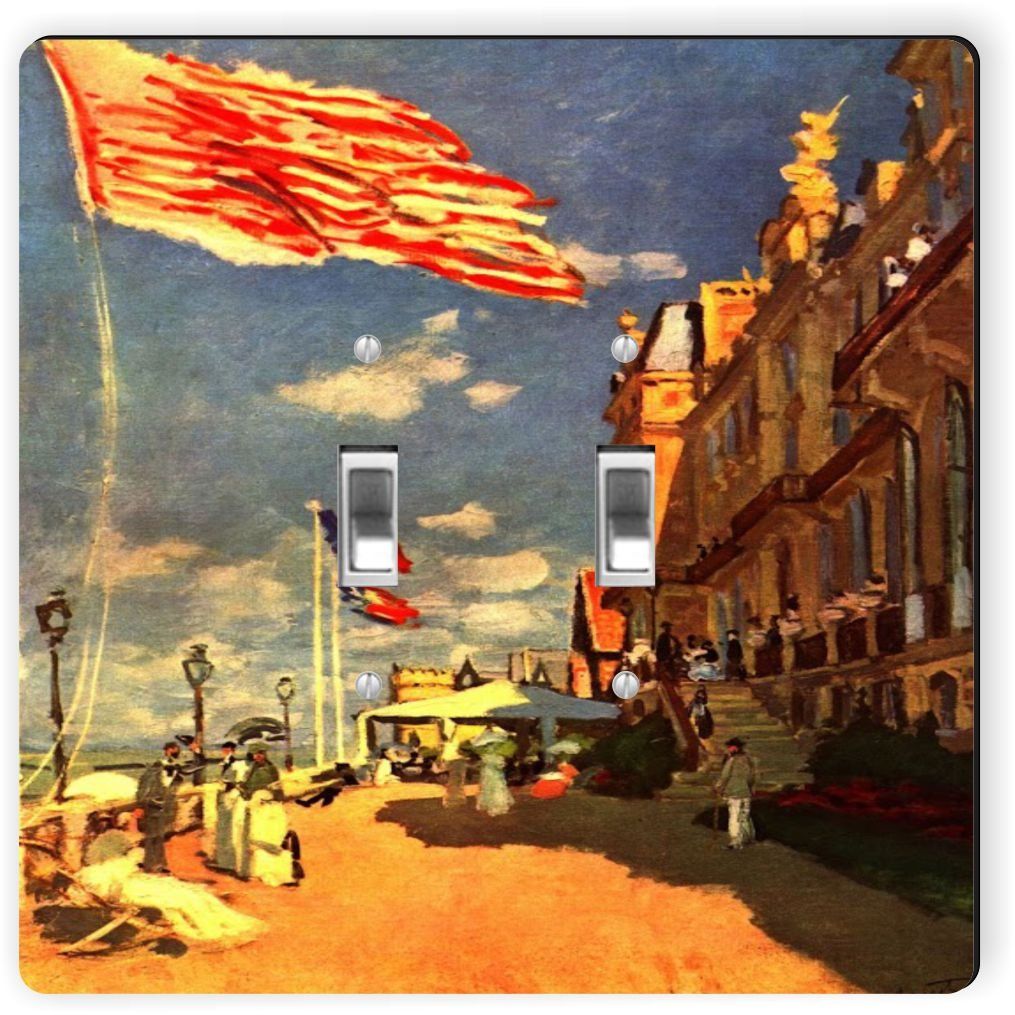 Rikki Knight 3613 Double Toggle Claude Monet Art The Hotel of Roches Noires Design Light Switch Plate