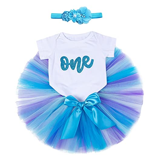 fee04e33c54 Image Unavailable. Image not available for. Color  OBEEII 1st Birthday  Party Baby Girl Romper Tutu Skirt Flower Headband Clothes Outfits Cake Smash  Photo