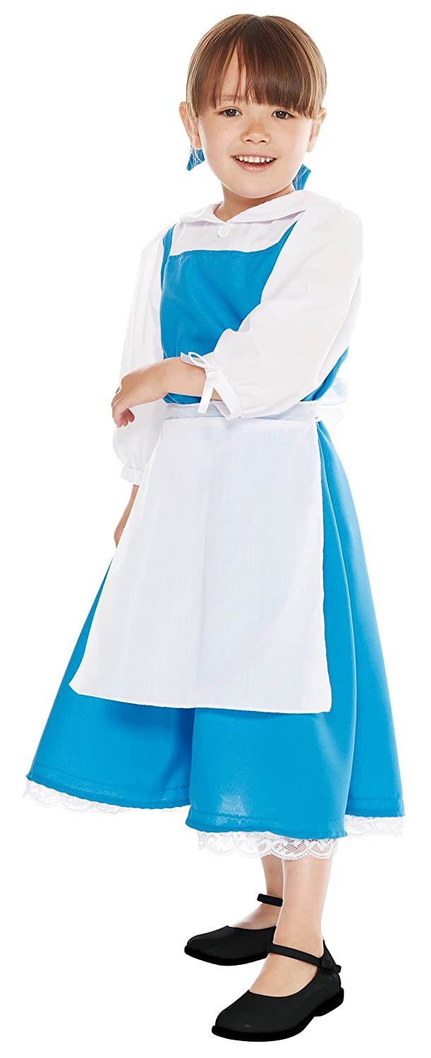 169dee3d6 Amazon.com  Disney s Princess Belle Blue Costume -- Beauty   The Beast Dress  -- Girl Child Small Size (100-120cm)  Clothing