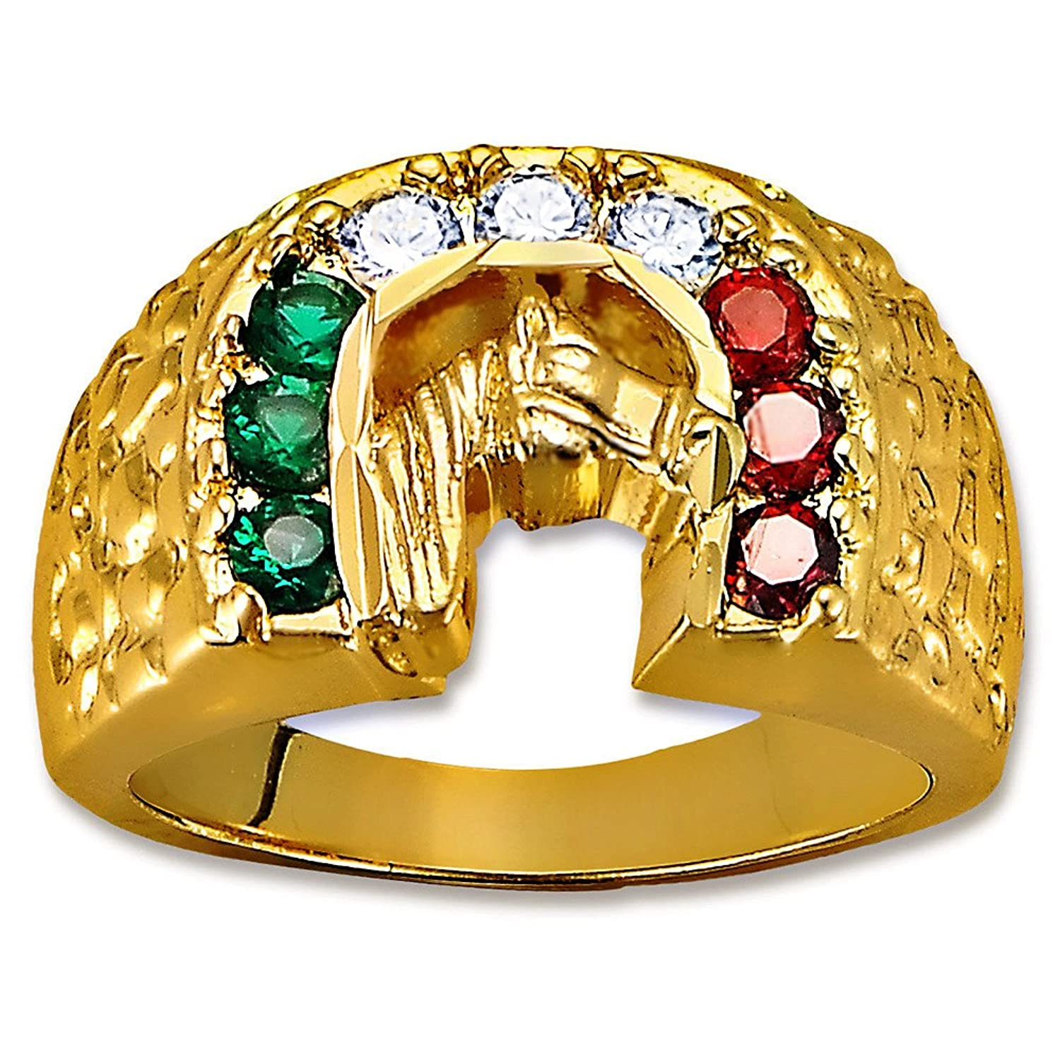 Tricolor Lucky Horse CZ 14K Yellow Gold Plated Men's Ring Sizes 9-12