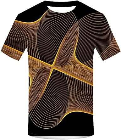 LANSKIRT Camiseta Hombre Manga Corta Camisa de Cuello Redondo ...