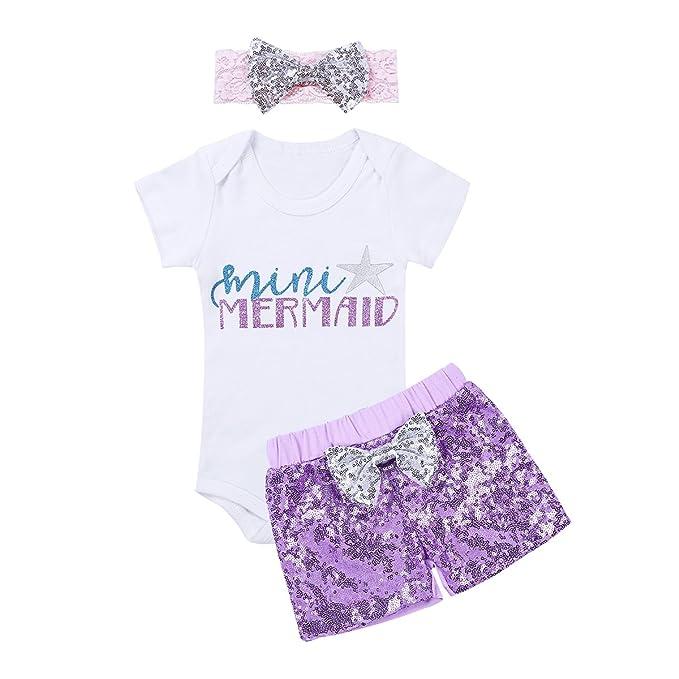 YiZYiF Ropa para bebé niña Verano 3 Piezas Casual Traje Conjunto Pelele Top Pantalones Cortos y Banda: Amazon.es: Ropa y accesorios