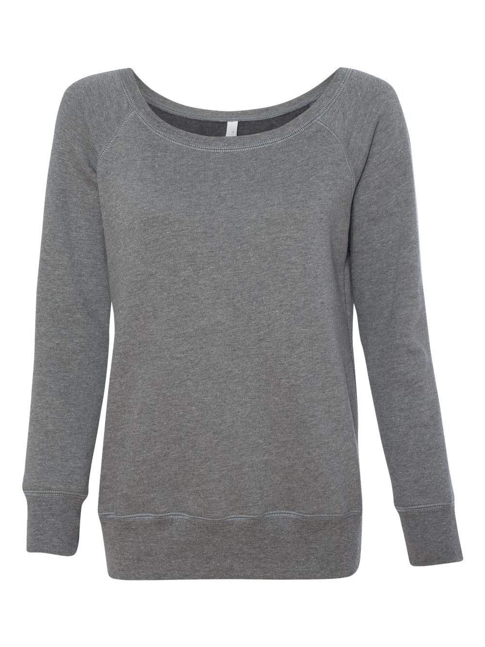 Bella 7501 Womens Sponge Fleece Wide Neck Sweatshirt - Deep Heather, Extra Large