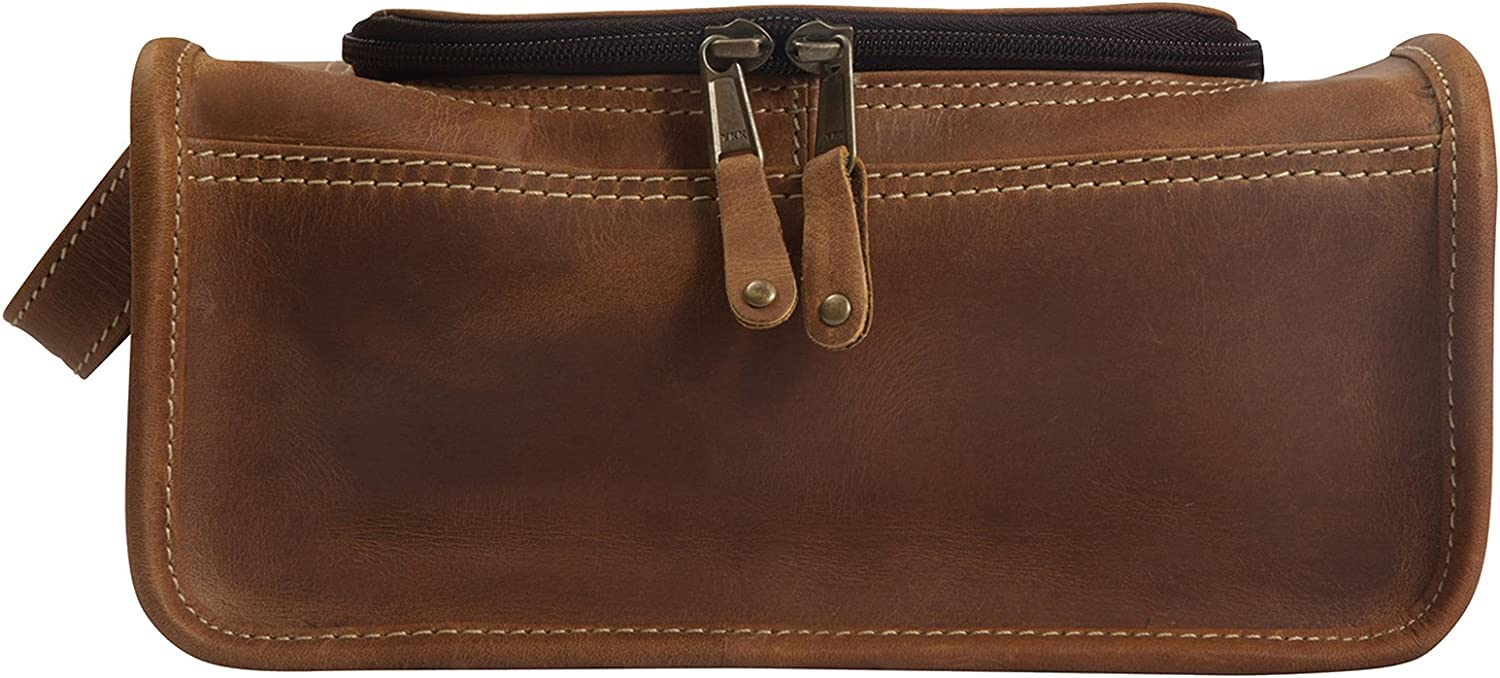 Canyon Outback Leather Goods Taylor Falls Leather Toiletry Bag Distressed Brown Inc