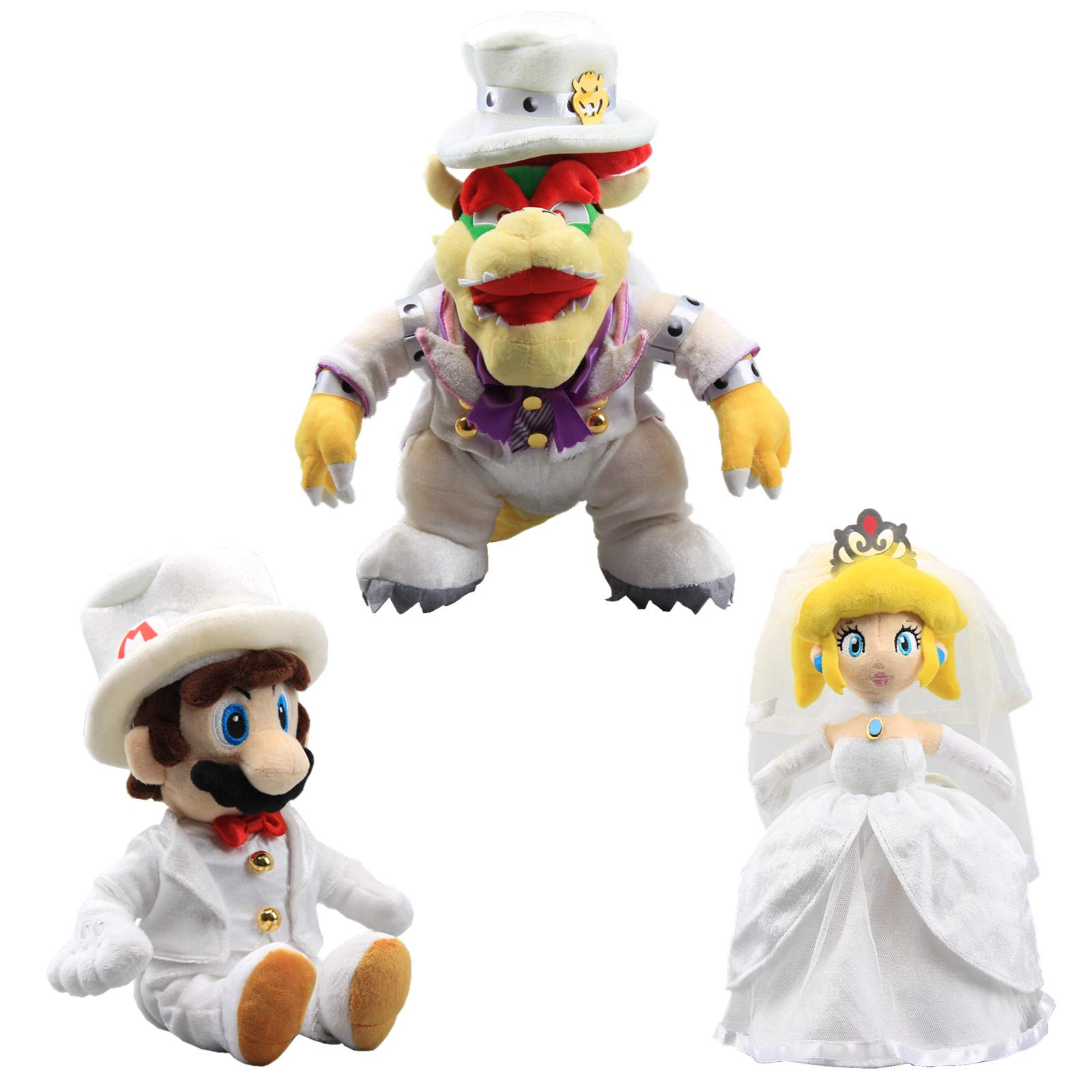 uiuoutoy Super Mario Odyssey King Bowser Princess Peach Mario Wedding Dress Plush Toy Set of 3 pcs by uiuoutoy