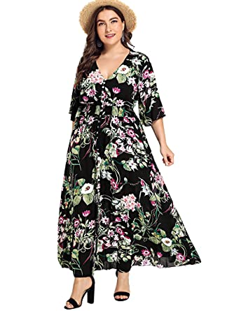 1bc4b717f2cd6 Romwe Women s Plus Size Floral Print Buttons Short Sleeve Split Flowy Maxi  Dress Black 0XL