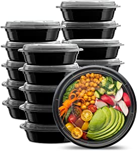 [50 Sets - 24 oz.] Meal Prep Containers With Lids, Round Lunch Containers, Bento Boxes, Food Storage Containers