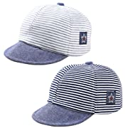 eb0db1f2d25 Baby Newborn Cool Boys Cotton Adjustable Baseball Cap Striped Sun Visors  Peaked Hat Beret Cap (Black+Grey)